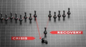 3D illustration of crisis and disaster recovery chart over black background. Business continuity plan concept.