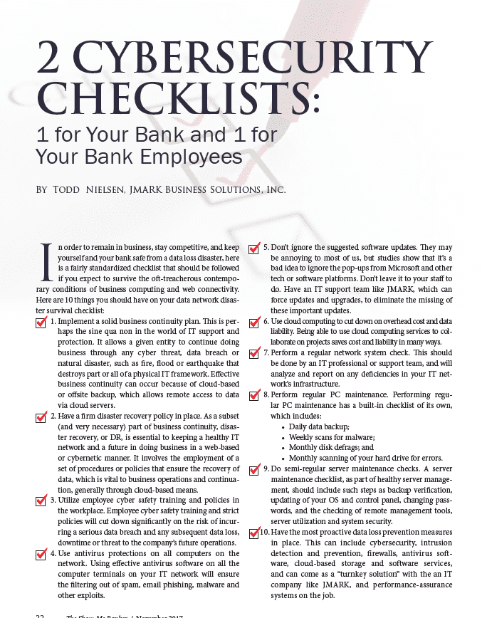 2 Cybersecurity Checklists: 1 for Your Bank and 1 for Your Bank Employees