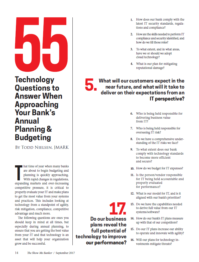 55 Technology Questions to Answer When Approaching Your Bank's Annual Planning & Budgeting