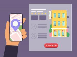 Hand holding mobile smart phone with application search hotel. Find hotel on city map. Flat design style modern vector illustration concept.