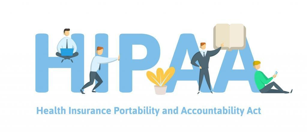 HIPAA, Health Insurance Portability and Accountability Act. Concept with keywords, letters and icons. Flat vector illustration on white background.