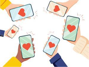 Valentine Day Gift Card Holiday Love Hands Hold Cell Smart Phone with hearts. Social Network Communication Flat Vector Illustration. SMM business success likes, social media marketing background