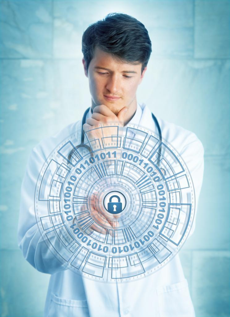 Young pensive medical doctor touching a virtual padlock in a virtual security mechanism. Information technology concept for cybersecurity, network security, protection of sensitive health care data. cybersecurity