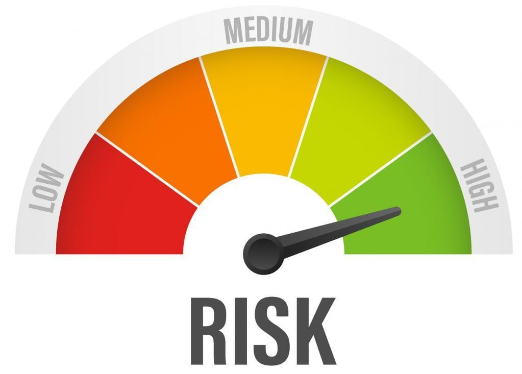 Risk icon on speedometer. High risk meter. Vector stock illustration.