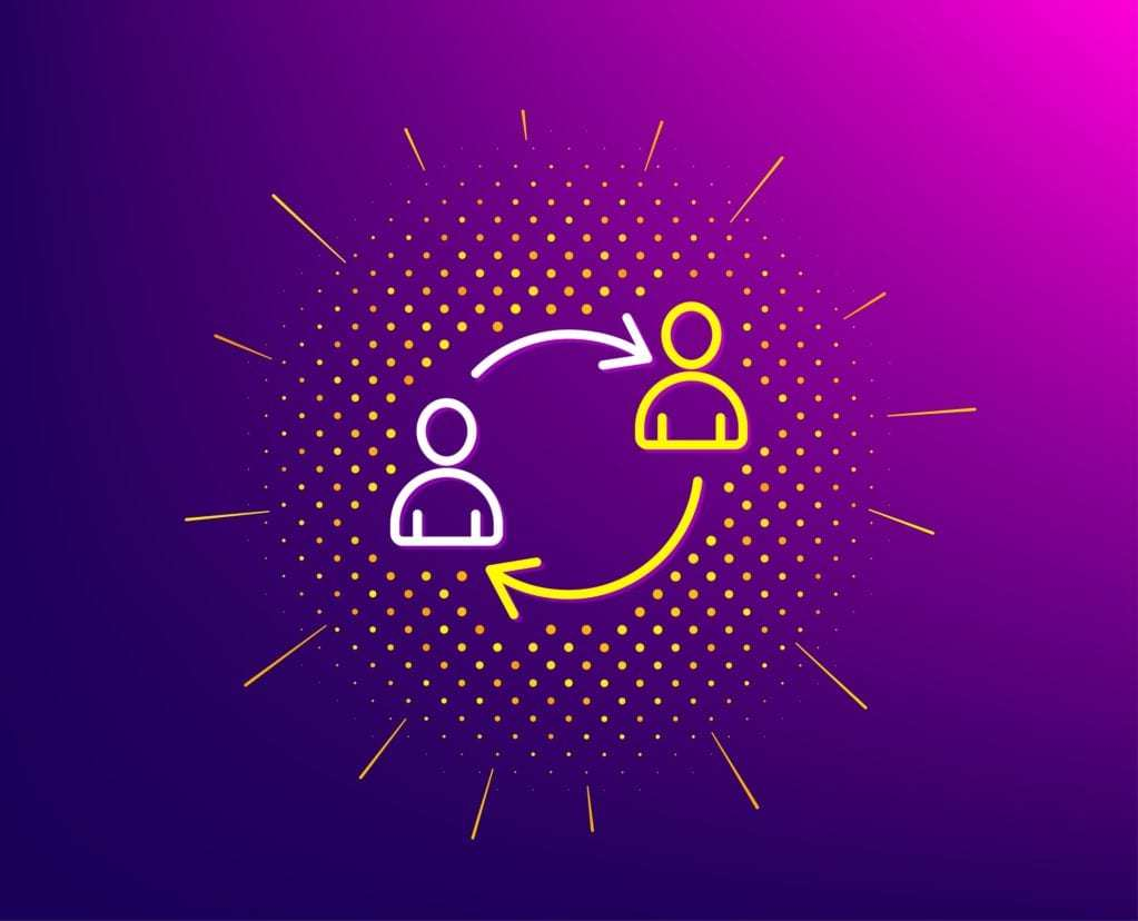 Teamwork line icon. Halftone pattern. User communication or Human resources. Profile Avatar sign. Person silhouette symbol. Gradient background. User communication line icon. Vector