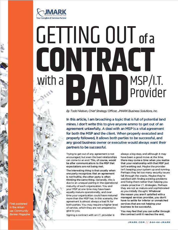 Getting Out of a Contract with a Bad MSP/I.T. Provider