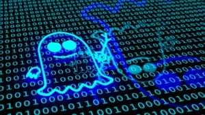 Blue ghost symbol floating over binary floor spectre icon cybersecurity 3D illustration