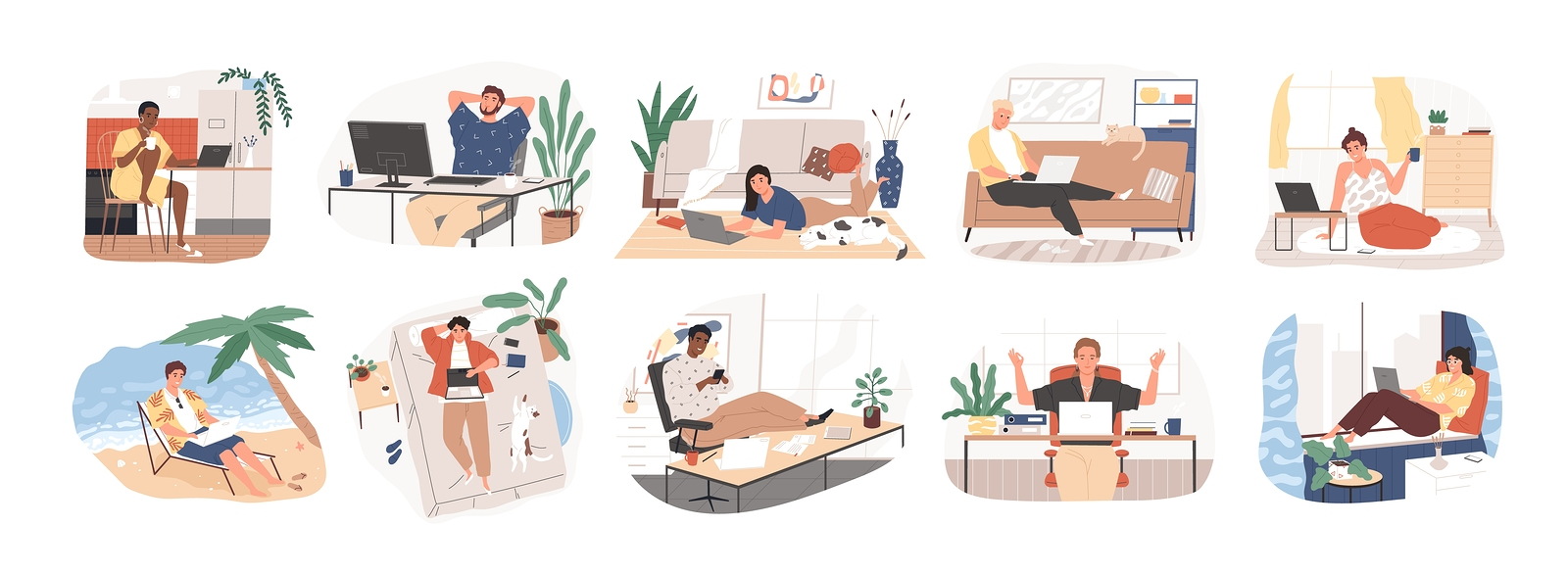 Freelance people work in comfortable conditions set vector flat illustration. Freelancer character working from home or beach at relaxed pace, convenient workplace. Man and woman self employed concept.