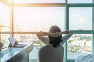 Work-life Balance Relaxation With Asian Working Business Woman H